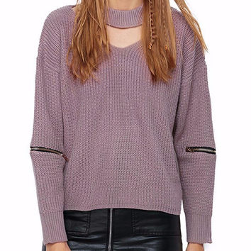 Serena Knit Choker Sweater with Zippers