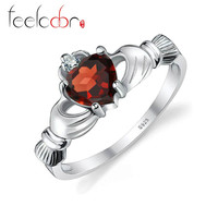 100% Natural Garnet Irish Claddagh Ring Solid 925 Sterling Silver Friendship Love Heart Fine Gemstone Jewelry January Birthstone