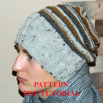 Mens beanie PATTERN-knitted hat PDF Tutorial-knitting pattern-men's hat-Striped Wool Slouchy Knit beanie-Boy's Cap-instant download-patterns