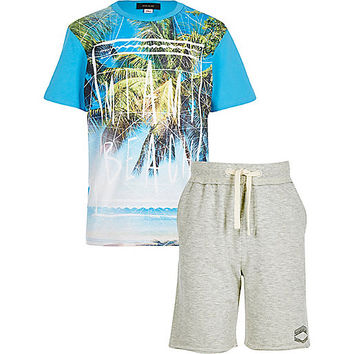 River Island Boys blue Miami t-shirt and shorts outfit