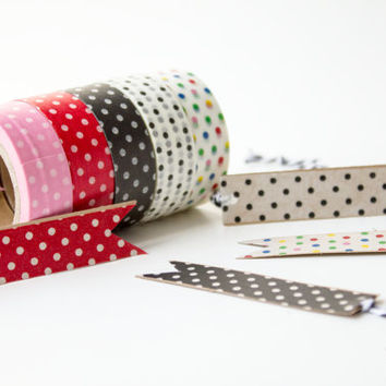 Polka Dot Pack - Washi Tape - Scrapbooking Adhesive - 5 Rolls - Red, Pink, Black, White, and Multicolored