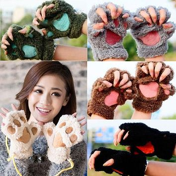 Lovely Women Cat Claw Paw Mitten Plush Glove Costume Cute Winter Half Finger