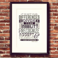 Celebrate the Differences Quote Wall Art Print
