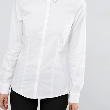 ASOS Fitted White Shirt in Stretch Cotton at asos.com