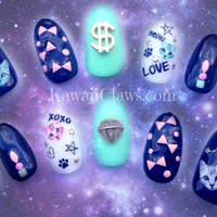 Kawaii Studded Kitty Money full false/fake 3D nails japanese gel nail art