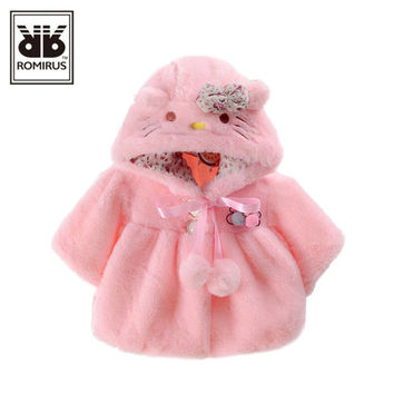 ROMIRUS Brand Baby Coats Thick Winter Warm Girls Clothes Cloak Cute Cat  Hooded Coat newborn Baby jacket Baby-Snowsuit 0-24M
