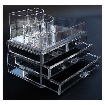 Clear Acrylic Makeup Cosmetics Jewelry Organizer 3 Drawers Display Box Storage