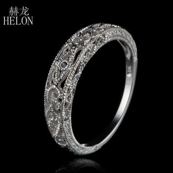 HELON Ladies Vintage Genuine Sapphires Filigree Antique Ring Solid 10k White Gold Art Nouveau Wedding Anniversary Women Ring