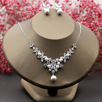 Charming Bridal Wedding Jewelry Set Clear Cubic Zirconia Necklace