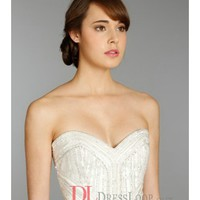 An Art Deco Natural Waist Beaded Bodice Bridal Gown AV9366
