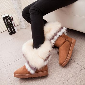 Fox Fur Warm Autumn Winter Wedges Snow Fox Snow Women Australia Boots Shoes GenuineI Mitation Lady Short Boots Casual Long Snow