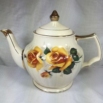 Vintage Sadler England Teapot Yellow Rose Gold Trim Signed Numbered Collectible