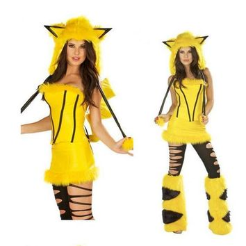 Halloween Costumes Pokemon Pikachu Mollusk Assemblies Charming Uniforms Temptation Set Halloween Party Performance Dresses