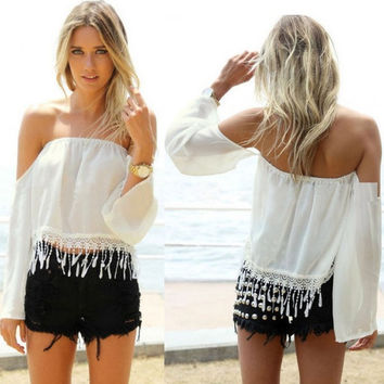 Fashion Women Sexy Off Shoulder Chiffon Shirt Tassels White Crop Top Blouse 9 = 1902332612