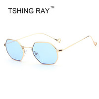 TSHING RAY 2017 New Fashion Polygon Designer Small Frame Sunglasses Women Men Mirror Sun Glasses For Female Male Vintage Oculos
