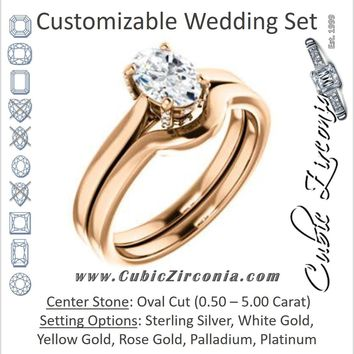 CZ Wedding Set, featuring The Aimy Jo engagement ring (Customizable Cathedral-Raised Oval Cut with Prong Accents)