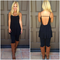 Lucy Tiered Tunic Top - BLACK