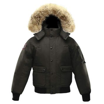 Triple F.A.T. Goose Grinnell Mens Goose Down Jacket Parka with Real Coyote Fur