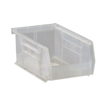 Quantum Plastic Storage Clear-View Ultra Hang and Stack Bin 7-3/8 x 4-1/8 x 3 - Pack of 24