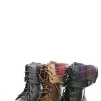Bumper Freda03x Gray Plaid Lining Combat Boots shop Boots at MakeMeChic.com