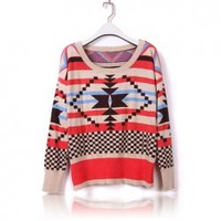 Casual Scoop Neck Thicken Stripe Long Sleeve Sweater for Women