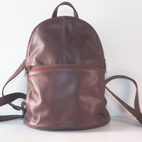 Women Purse, Brown Leather Backpack, Soft Leather Backpack, Leather Rucksack, Laptop Leather Backpack, School Backpack, NEW LARGER SIZE