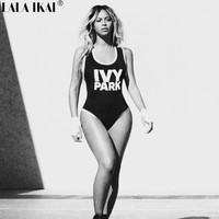 Black Beyonce Bodysuit Ivy Park Womens Jumpsuits and Rompers Letter Print One Piece Jumpsuit Sexy Black Rompers Overalls KWH0114