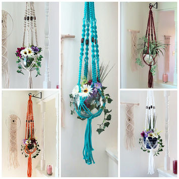 Macrame Plant Hanger with beads, Large Modern Hanging Planter, Vintage 70s style Macrame Pot Hanger, Hippie Boho Plant Decor, Garden Gifts