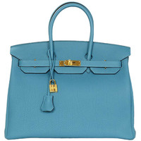 Hermes New In Box 2014 Turquoise Togo Leather 35 Birkin Bag Ghw