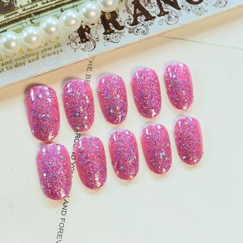 Small Round UV Finished Fake Nails Large Sequins Glitter False Nail Tips Pink Full Wrap Party Press On Nails 24pcs kit Z288