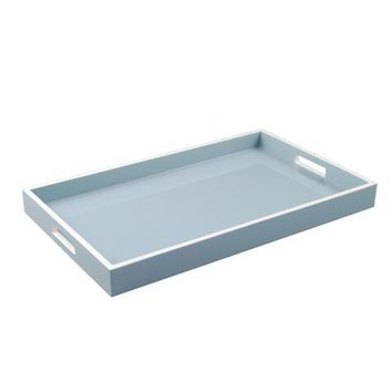 Cool Gray with White Trim Lacquer Breakfast Tray