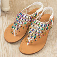 Unique Rhinestone Color Beading Flat Sandals