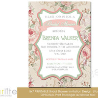 Bridal Shower Invitation - English Beige Rose Floral - Vintage Style - Distressed Pink Green, Vintage Chic - unique invitation - You Print