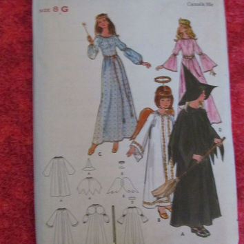 SALE UnCut 1970's Butterick Sewing Pattern, 6312! Size 8 Girls, Fairy, Witch, Angel, Princess, Queen, Maid Marion, Halloween Costumes, Cospl