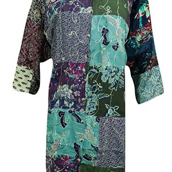 Front Open Patchwork Tunic top Embroidered Green Shirt Kurti XL