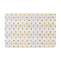 "Pellerina Design ""Linen Polka Stripes"" Gold Dots Memory Foam Bath Mat"