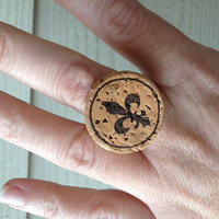 Upcycled Champagne Cork Ring featuring fleur de lis