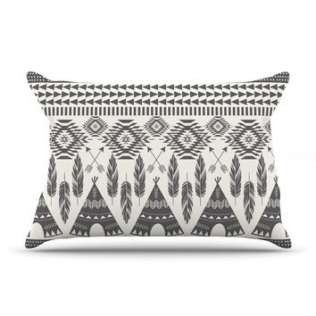 "Amanda Lane ""Native Roots"" Brown Gray Pillow Case"