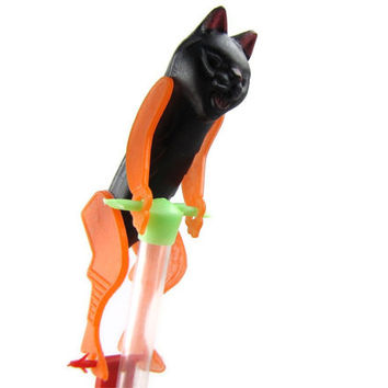 Acrobat Cat - Vintage Mechanical Halloween Candy Container, Climbing Kitty, Clear Tube with Candy Still Inside, Plastic Cat Does Flips