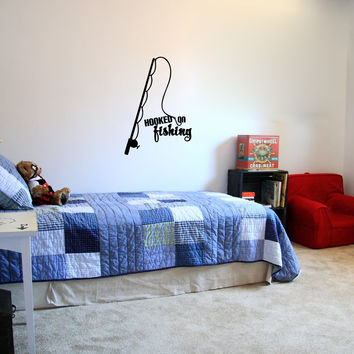 Hooked on Fishing with Rod and Reel Vinyl Wall Words Decal
