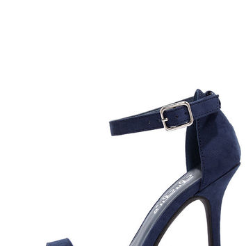 LuLu*s Elsi Navy Blue Single Strap Heels