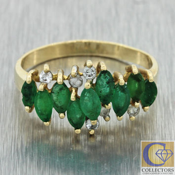 Vintage Estate 14k Solid Yellow Gold 1.08ctw Marquise Emerald Diamond Ring