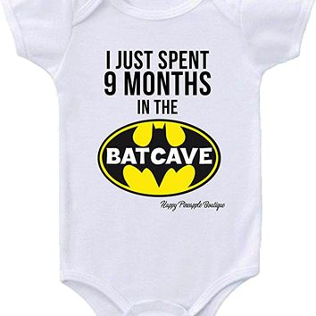 Funny Baby Onesuits Just Spent 9 Months In The Batcave Sizes Newborn-12 Months