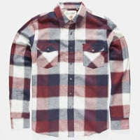 Coastal Basset Mens Flannel Shirt Burgundy  In Sizes