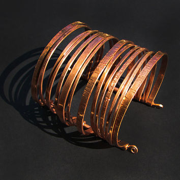 Copper Cuff Bracelet - Layered Bangles Bracelet - Nomad Gypsy - Handmade by me and each is ooak  - Unisex- handmade in Austin, Tx