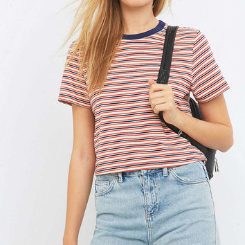 Urban Outfitters Variegated Red Striped Crop Top - Urban Outfitters