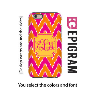 iKat chevron monogram iPhone case, pink and orange boho iPhone 6s case, iPhone 6s plus case, iPhone 5c case, iPhone 5s case, 3D iPhone case
