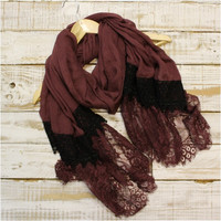 Lace Scarf, Scarves, long, Aubergine / black | SC3