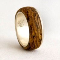 silver ring with wood mens wedding band with bocote