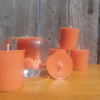 Orange soy votive candles, vegan friendly candles, Gardenia scented candles